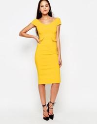 Платье миди с баской Vesper Phoebe - Желтый