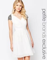 Приталенное платье мини с глубоким вырезом и отделкой на плечах Little
