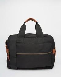 Черная нейлоновая сумка-сэтчел с карманом спереди ASOS - Черный