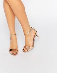 Легкие сандалии на каблуке цвета розового золота Head over Heels By Du