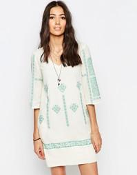 Платье-туника с вышивкой крестиком See U Soon - Зеленый