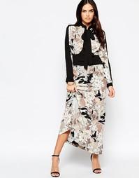 Платье макси с бантом‑завязкой и крупными цветами Liquorish