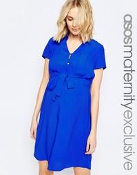 Платье-рубашка для беременных с драпировкой спереди ASOS Maternity