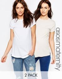 Набор из 2 оversize-футболок для беременных в льняном стиле ASOS Mater