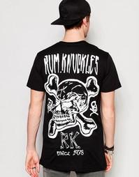 Футболка с костями и черепом Rum Knuckles RK - Черный