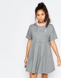 Трикотажное платье-футболка в стиле ретро со щенком Lazy Oaf - Серый