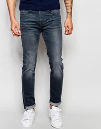 Серые стретчевые джинсы слим Edwin Jeans ED-80 CS - Темный состаренный