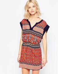 Платье-туника с поясом Brave Soul - Красный смешанный