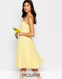 Платье миди для выпускного TFNC WEDDING - Пастельно-желтый