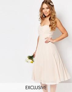 Платье миди для выпускного TFNC WEDDING - Телесный