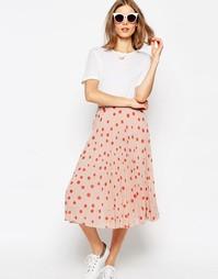 Плиссированная юбка миди с принтом в горошек ASOS