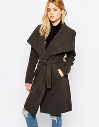 Пальто с поясом JDY - Темно-серый меланж