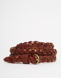 Кожаный плетеный ремень Vero Moda - Рыжий