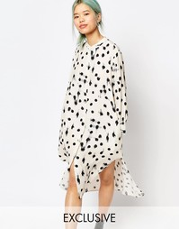 Длинное платье-рубашка с удлиненным краем Zacro - Белый
