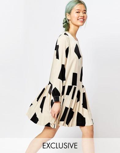Платье с длинными рукавами и геометрическим принтом Zacro - Белый