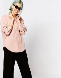 Блузка со складками сзади и скрытыми пуговицами Zacro - Розовый