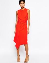 Асимметричное платье-футляр миди с драпировкой ASOS - Телесный