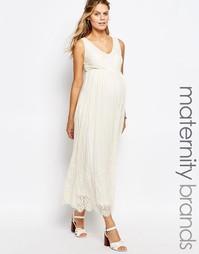Кружевное платье макси Mamalicious Premium - Кремовый Mama.Licious
