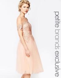 Платье миди из тюля и кружева Chi Chi London Petite - Розовый