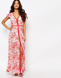 Платье с вышивкой и высоким разрезом Foxiedox Tulip - Мульти