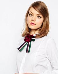 Полосатый галстук-бабочка с цветком ASOS - Мульти