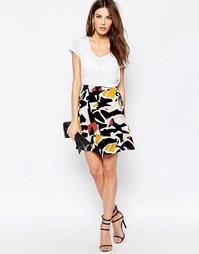 Трикотажная юбка с молнией спереди Selected Sonia - Пыльный кедр
