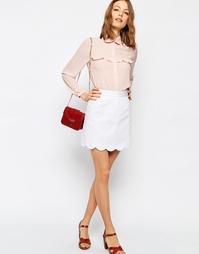 Мини юбка‑трапеция с фигурным краем ASOS - Белый