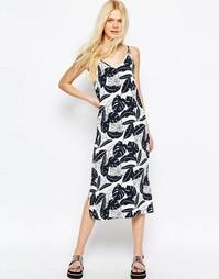 Черно-белое платье миди с пальмовым принтом ASOS - Мульти