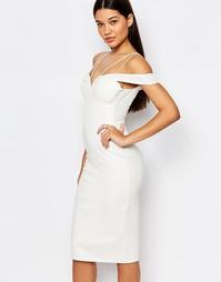 Платье миди с кружевным лифом Rare London - Белый