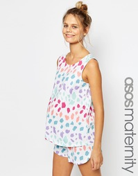 Пижамные шорты и майка с ярким леопардовым принтом ASOS Maternity