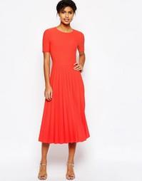 Плиссированное фактурное платье миди ASOS - Оранжевый