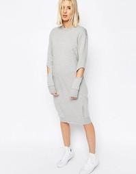 Платье-футболка миди с защипами и вырезами ASOS WHITE - Серый