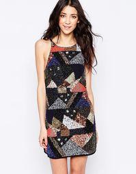 Платье с отделкой пайетками в стиле пэтчворк Glamorous