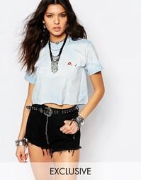 Укороченная винтажная футболка с цветочной вышивкой Milk It
