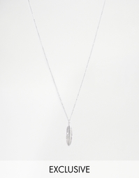 Серебряное ожерелье с подвеской-перышком Reclaimed Vintage