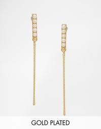 Позолоченные серьги-подвески с искусственным жемчугом Pilgrim