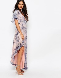 Платье макси с рукавами-кимоно и принтом Foxiedox - Синий принт
