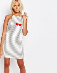 Полосатое платье мини с вишней Kiss & Tell - Белый