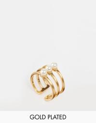 Позолоченное регулируемое кольцо с искусственным жемчугом Pilgrim