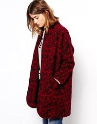 Пальто из вареной шерсти с животным принтом Ganni