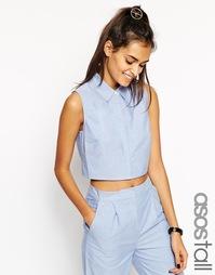 Укороченная саржевая футболка без рукавов ASOS TALL Co-ord - Синий