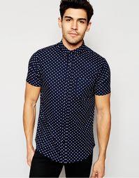 Рубашка в горошек с короткими рукавами Brave Soul - Синий