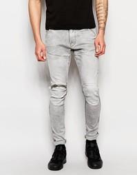 Серые состаренные узкие джинсы стретч с молнией на коленке G-Star Elwo