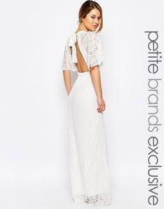 Кружевное платье макси с вырезом капелькой спереди John Zack Petite