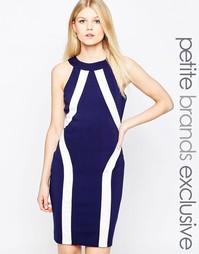 Платье-футляр колор блок с халтером Paper Dolls Petite - Темно-синий