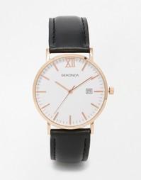 Часы цвета розового золота с черным кожаным ремешком Sekonda - Черный