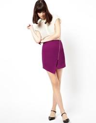 Креповая юбка с запахом и молнией ASOS