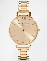Золотистые наручные часы с большим циферблатом Olivia Burton - Золотой