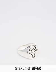 Серебряное кольцо в гравировкой в виде быка ASOS - Серебряный