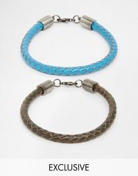 Набор кожаных браслетов Simon Carter эксклюзивно для ASOS - Синий